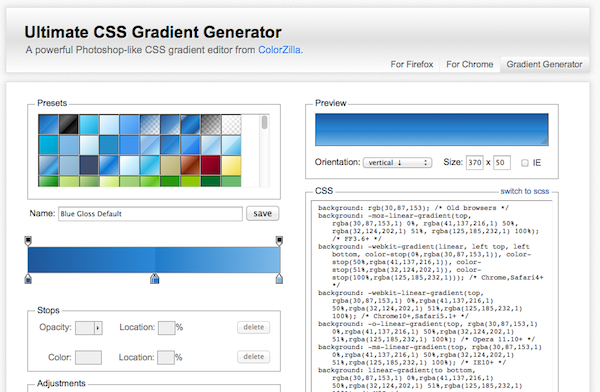 Origine IT » Blog Archive » CSS Gradient Generator